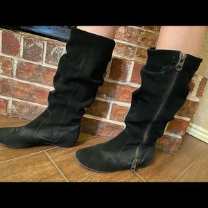Baker's slouch high boots black suede leather 7.5
